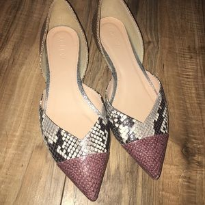 J.crew flats Pointed toe size 7 animal skin detail